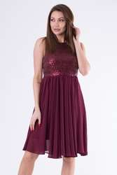 Evalola sukienka bordowy 58006-1