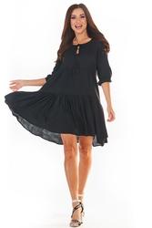 Czarna sukienka mini w stylu boho
