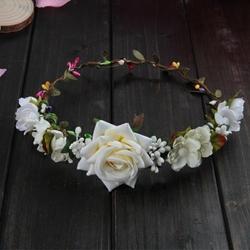 WIANEK do włosów RÓŻE kwiaty BIAŁY liście ŚLUB