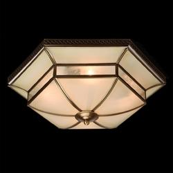 Lampa sufitowa w stylu tiffany sześciokątna podstawa, mosiądz chiaro country 397010204