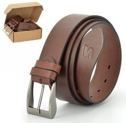 Pasek skórzany stylion w pudełku - brązowy st40-1 - szer.4cm