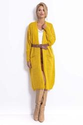 Długi kardigan z ażurem na rękawach - żółty