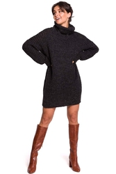 Antracytowy oversizowy sweter-tunika z golfem