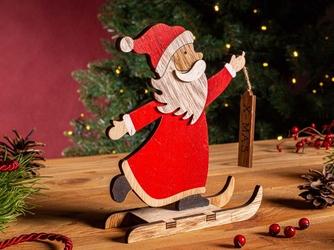 Figurka  ozdoba  dekoracja świąteczna drewniana święta boże narodzenie altom design mikołaj na nartach 15,5 x 5 x 18 cm