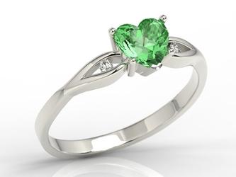 Pierścionek z białego złota z zielonym topazem w kształcie serca i cyrkoniami lp-71b