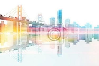 Fototapeta most na panoramę miasta