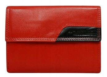 Portfel damski skórzany cavaldi rd-03-cmn czerwony - czerwony z czarnym