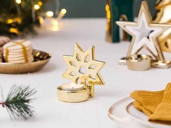 Świecznik świąteczny  dekoracja świąteczna  płatek śniegu  święta  boże narodzenia altom design złoty 9,5 x 9,5 cm