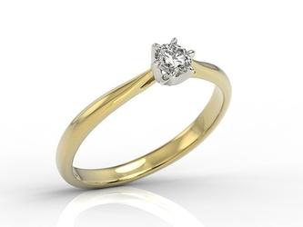 Pierścionek zaręczynowy z żółtego i białego złota z brylantem ap-6618zb