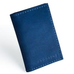Skórzany cienki portfel slim wallet brodrene sw03 granatowy - granatowy