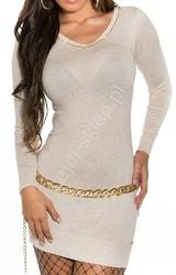 Kremowo beżowa sukienka z cyrkoniami z łezką na plecach 8274