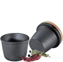 Tarka żeliwna do przypraw, tłuczek z miseczką i bukową pokrywką zassenhaus zs-076080