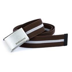 Parciany brązowo biały pasek do spodni brodrene p09 silver