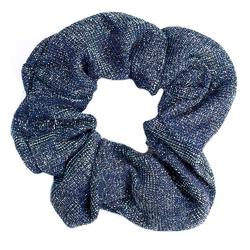 Gumka do włosów niebieska scrunchie brokat