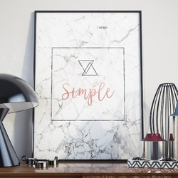 Plakat w ramie - simple marble , wymiary - 20cm x 30cm, ramka - czarna