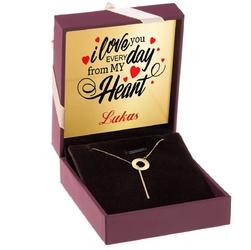 Złoty naszyjnik krawatka z kółkiem pr. 585 prezent z dedykacją