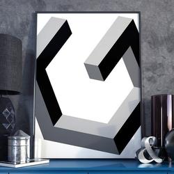 Abstract 3d - plakat w ramie , wymiary - 20cm x 30cm, ramka - biała