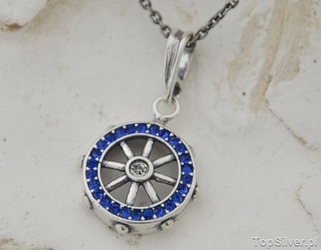 Navy koło sterowe - srebrny wisior z szafirami