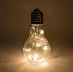 Zestaw 2 szklanych żarówek 10 diod led ciepły biały akumulator o wysokości 17 cm dekoracja dzienna