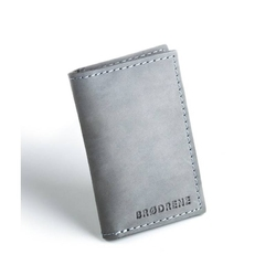 Szary skórzany portfel slim wallet brodrene sw03