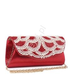 Kopertowa torebka na wieczór z wzorem z perełek, czerwona