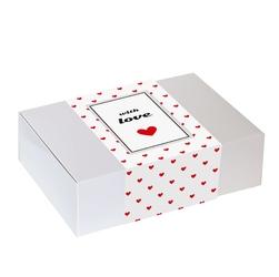Zestaw prezentowy dla zakochanych lovebox dobrana para. zestaw 10 saszetek - 10x 10g z kawą mieloną o różnych smakach, zestaw 10 saszetek - 10x 58g z różnymi rodzajami i smakami herbat oraz czekoladowy lizak z kawą