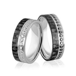 Obrączki srebrne z karbonem - włóknem węglowym i biało czarnymi cyrkoniami - wzór ag-385