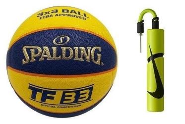 Piłka do koszykówki spalding tf-33 official game ball out fiba streetball 3x3 + pompka nike essential