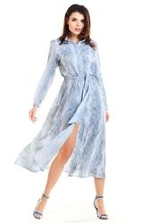 Długa sukienka koszulowa szara w cętki