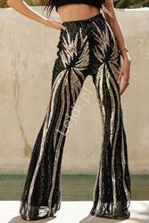 Cekinowe spodnie dzwony w kolorze czarno złotym 213