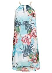 Sukienka w kwiaty bonprix turkusowo-biały w kwiaty