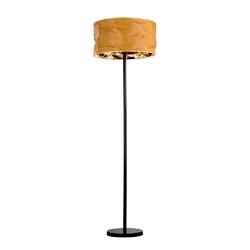 Lampa podłogowa z abażurem miodowo-miedziana papeda