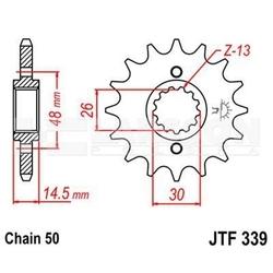 Zębatka przednia jt f339-16, 16z, rozmiar 530 2200117 honda cb 1300