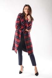 Czerwony wełniany prosty płaszcz z krytym zapięciem