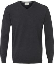 Sweter  pulower v-neck z wełny z merynosów artacyntowy XL