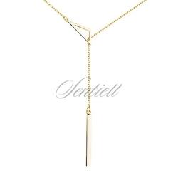 Srebrny naszyjnik pr.925 trójkąt, pozłacany - żółte złoto