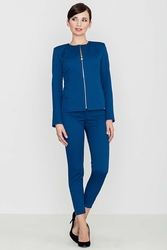 Niebieskie eleganckie spodnie z suwakami