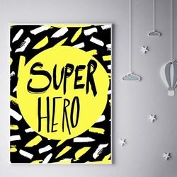 Super bohater na żółtym tle - plakat wymiar do wyboru: 21x29,7 cm