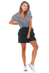 Czarna rozkloszowana mini spódnica z falbanką