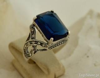 Elwira - srebrny pierścień z szafirem