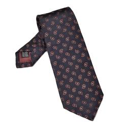 Granatowy krawat jedwabny we wzór paisley