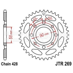 Zębatka tylna stalowa jt 269-56, 56z, rozmiar 428 2301428 honda xl 125, daelim vj 125