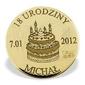 Grosz na szczęście ze złota m-5z doskonały na urodziny - na urodziny  ok. 16 mm