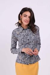 Wzorzysta taliowana koszula damska