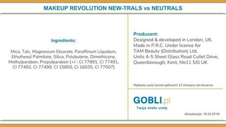Makeup revolution new-trals vs neutrals, cienie do powiek na dzień i noc 16g