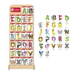 Zestaw drewnianych literek + ekspozytor 70 elementów