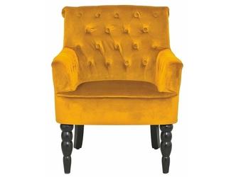 Elegancki żółty fotel amanda na czarnych toczonych nogach