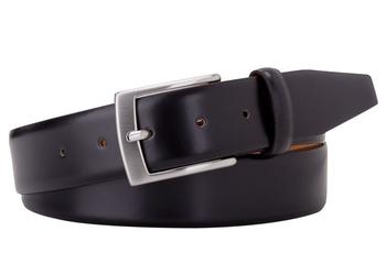 Elegancki pasek skórzany męski 3,5cm czarny gładki 115