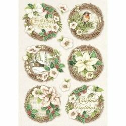 Papier ryżowy Stamperia A4 Świąteczne etykiety