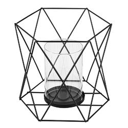 Świecznik metalowy geometryczny altom design czarny 16,5 cm z wkładem szklanym